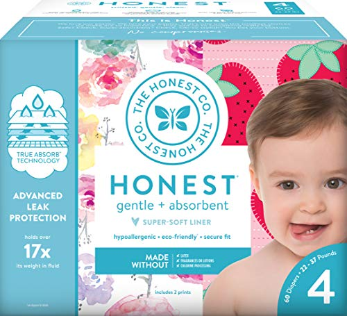 The Honest Company Club Box – Size 4 – Rose Blossom & Strawberries Print with TrueAbsorb Technology | Plant-Derived Materials | Hypoallergenic | 60 Count