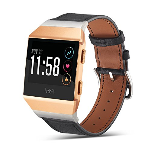 Marval Power Genuine Leather Replacement Bands for Fitbit Ionic, Fitness Accessory Leather Straps Wristband for Smartwatch Men Women