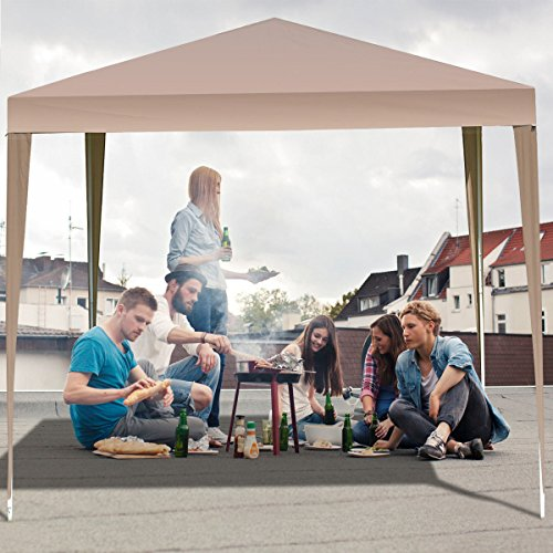 All Weather Canopy - TANGKULA Outdoor Tent 10'X10' EZ Pop Up Portable Lightweight Height Adjustable Study Instant All Weather Resitant Event Party Wedding Park Canopy Gazebo Shelter Tent with Carry Bag (Caffee)