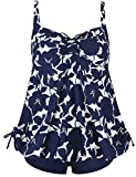 Septangle Women's Plus Size Bathing Suits Ruffle Two Piece Floral Print Swimsuit (Blue,US 12)