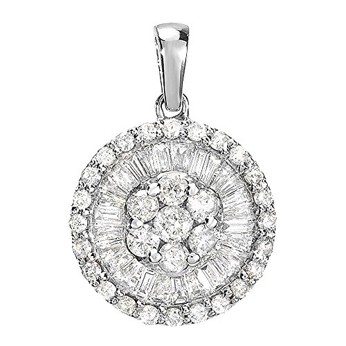 1.20 Carat (ctw) 14K White Gold Round & Baguette Diamond Flower Cluster Ladies Pendant 1 1/4 CT