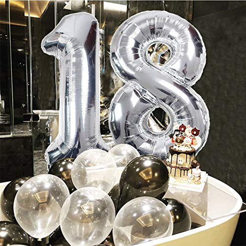 Toupons Birthday Party Decorations 18th18th Happy Banner 39pcs Balloons Set Black Gold Sliver Latex Foil