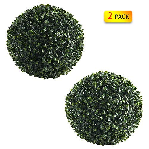 GTIDEA Artificial Topiary Ball, 2 Pack 11 inches Faux Boxwood Ball Perfect Fill Front Porch for Home, Schools, Factories, Private Clubs Green Landscaping Decor (Bush Ball)