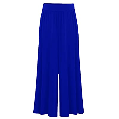 Dellytop Women's Loose Palazzo Trousers Wide Leg Pants Plus Size Navy Blue at Women's Clothing store