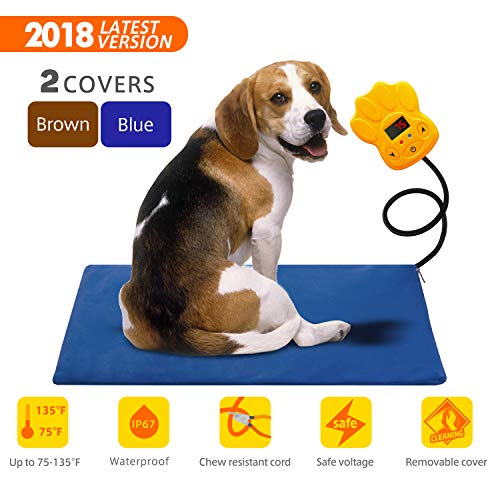 Large Pet Heating Pad 30W | Outdoor Indoor Electric Warmer for Dogs, Cats, Animals | Whelping Box, Heated Bed, Warming Mat | With Chew Resistant Cord, Replaceable Covers, Waterproof Layer | 15.75x25.6 from FITMAKER