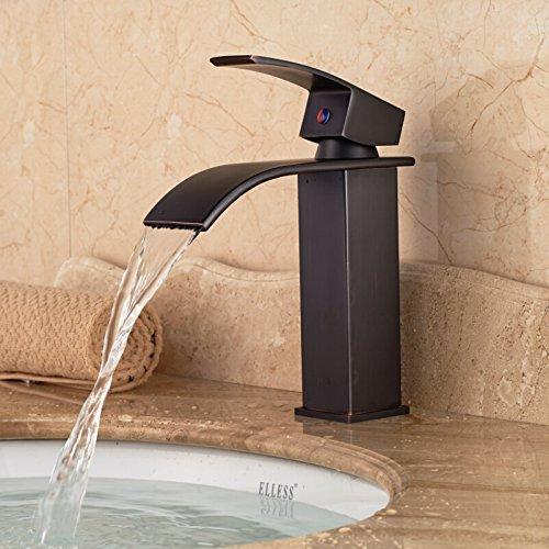 U-Enjoy Platz Wasserfall-Badezimmer-Top-Qualität Waschbeckens Hahn-Deck Montage Ein Griff Hot Cold Water Taps [Kostenloser Versand]