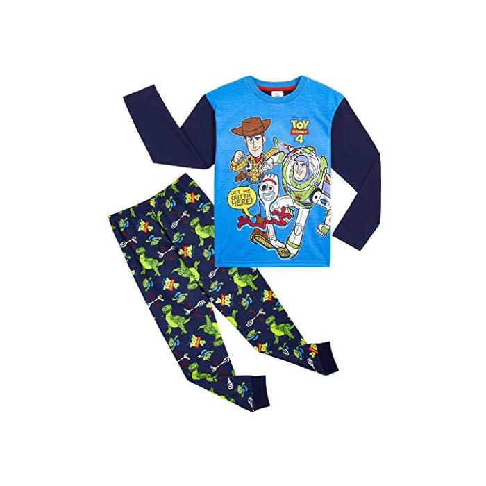 510pUHdpPSL ✔ PIJAMAS DE TOY STORY --- Este conjunto de pijama de 2 piezas viene con una camiseta azul de manga larga que presenta a tus personajes favoritos de Toy Story 4, Buzz Lightyear, Woody y Forky con pantalones largos a juego. Estos pijamas son son perfectos tanto como ropa de dormir como para estar en casa jugando. ✔ TALLAS DISPONIBLES --- Nuestros magníficos pijamas niños de Toy Story están disponibles en tallas para edades: 18/24 meses, 2/3 años, 4/5 años, 5/6 años, y 7/8 años. Pida la talla que adquiere normalmente en las tiendas y no tendrá problemas. 100% Algodón