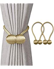 Magnetic Curtain Tiebacks Clips Decorative Rope Curtains Holdbacks Convenient Drapery Tie Backs Weave Holder for Window Draperies Hold Curtains Drape Ties Backs 16 inch Holdback (2, Gold)