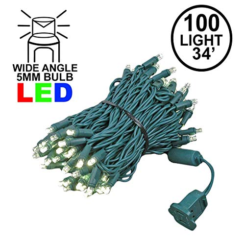 - Novelty Lights 100 Light LED Christmas Mini Light Set, Outdoor Lighting Party Patio String Lights, Warm White, Green Wire, 34 Feet