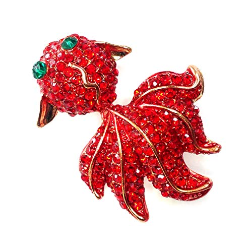 Gold & Red Bejeweled Goldfish Pin