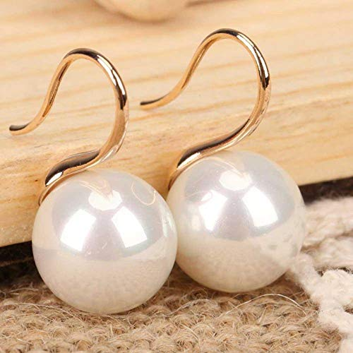 Huge 16mm Natural White South Sea Shell Pearl 14K Gold Plated Dangle Earrings -