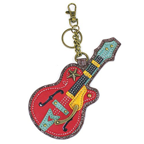 Chala Rock Star Guitar Key Chain Coin Purse Leather Bag Fob Charm New (Guitar Rock Charm)