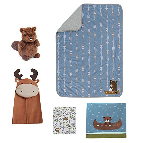 Canoe Moose (Lambs & Ivy Tippy Canoe 5-Piece Crib Bedding Set - Woodland Creatures, Mountain Nature Theme)