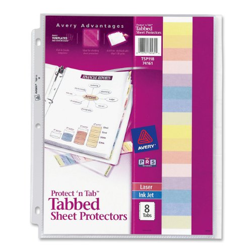 Avery Protect & Tab Top-Load Clear Sheet Protectors with Eight Tabs, Letter Size (74161)