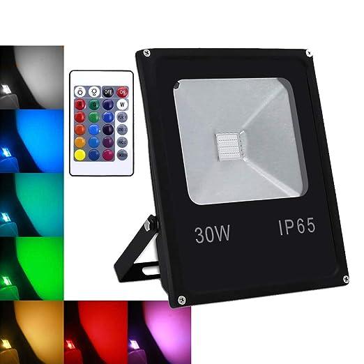 wolketon 30W RGB Foco LED proyector Lámpara Exterior IP65: Amazon ...