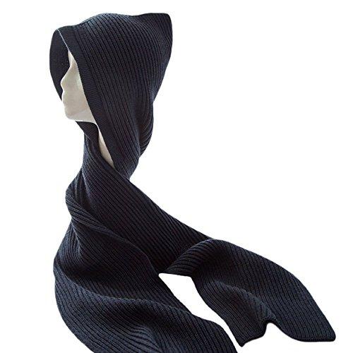 Unisex Winter Bomber Hats Knit Hooded Scarf Wrap Cap Hoodie Scarves Shawl Crochet Hat