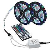 niceEshop(TM) Led Strip , 2 Rolls (10M / 32.8ft) 3528 SMD 600LEDs RGB Color Changing Flexible Led Strip Light Kit + 44key IR Remote Controller for Home Decorative