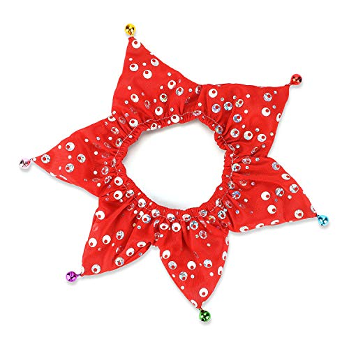 Oumers Bling Pet Holiday Accessories Cats & Dogs Christmas Elastic Collars with Bells Pet Party Neck Wear, Red