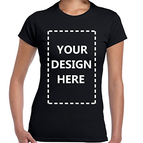 Women's Custom Add Your Own Design Photo Text Name Here Cotton T Shirts Black M