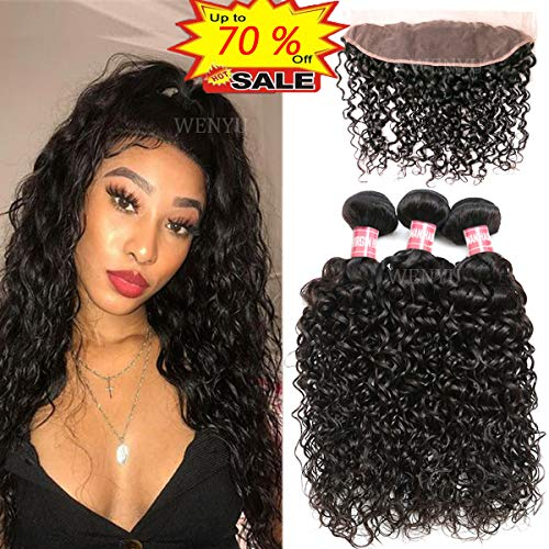 WENYU Brazilian Water Wave Human Hair 3 Bundles with Frontal Lace Closure 13x 4 Ear to Ear Lace Frontal with Bundles Water Wave Wet and Wavy(Water 14 16 18+12 Frontal, Water Wave Bundles with Frontal)