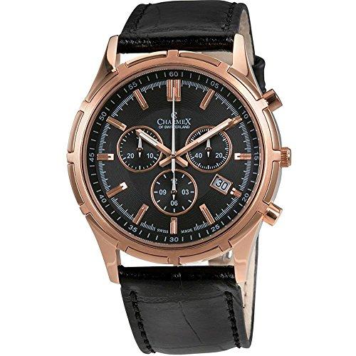 Charmex Men's Hockenheim 42mm Black Leather Band Steel Case Sapphire Crystal Quartz Analog Watch 2836