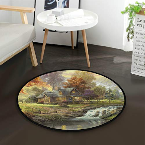 (Oil Painting Resort Villa River Kids Round Rug Baby Crawling Non-Slip Mats Child Activity Play Mat for Bedroom Playroom Home Decor (Diameter 36.2