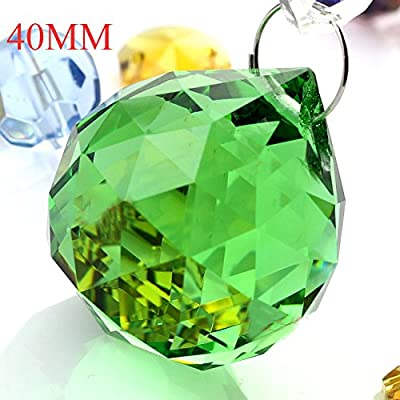 Zhongpai 2Pcs 40mm Vintage Feng Shui Faceted Decorating Color Crystal Ball Prism/Red/Pink/Blue/Black/Gold/Green Crystal Ball (Green) : Garden & Outdoor