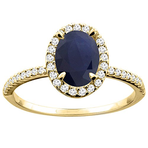 (14K Yellow Gold Natural Blue Sapphire Ring Oval 8x6mm Diamond Accent, size 10)
