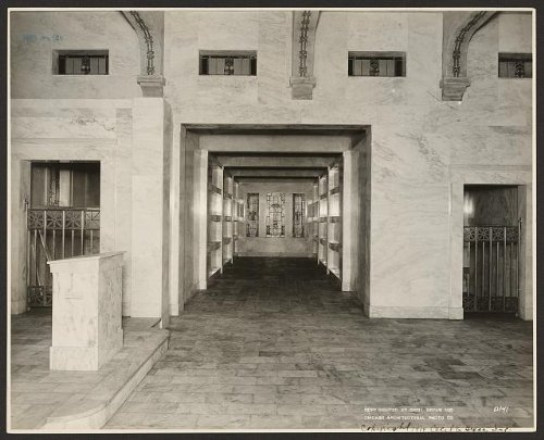Photo: Cecil E. Bryan, mausoleum, tomb, sepulchral monument, stained glass, Illinois, c1914 . Size: