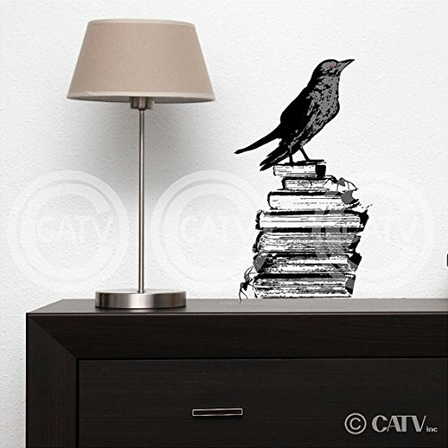 Raven on Books halloween vinyl lettering decal sticker art home decor (Halloween Vinyl Lettering)
