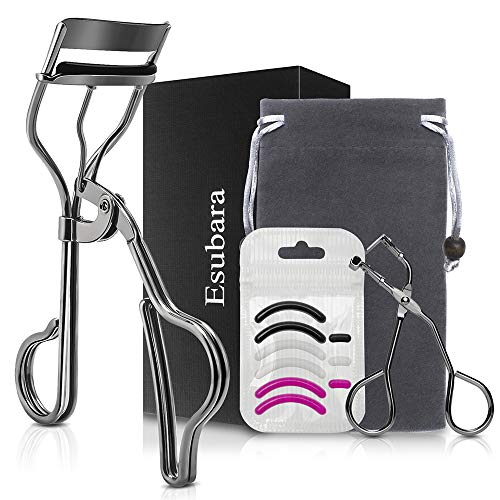 Professional Makeup Eyelash Curler Set - a Mascara Eyelash Curler, a Mini Partial Lash Curler, a Drawstring Bag and Refill Pads - No Pinching or Pulling Lash Curling for Most Eye Shapes and Sizes