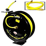 Neiko 40276A Retractable Metal Air Hose Reel | Auto Rewind | Multi Mounting Arm | 3/8'' x 100'