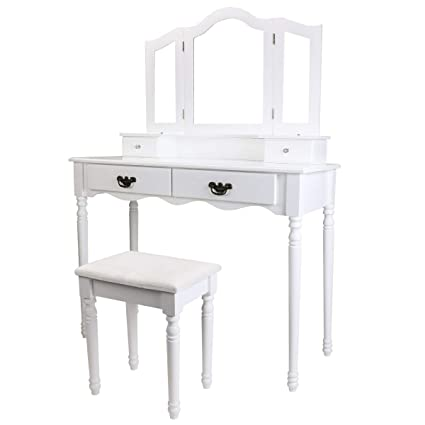 Amazon Com Bocca Vanity Set Dressing Table 4 Drawers Tri Folding