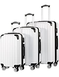 Luggage Expandable 3 Piece Sets PC+ABS Spinner Suitcase 20 inch 24 inch 28 inch (white grid)