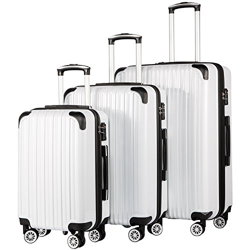 (Coolife Luggage Expandable 3 Piece Sets PC+ABS Spinner Suitcase 20 inch 24 inch 28 inch (white grid))