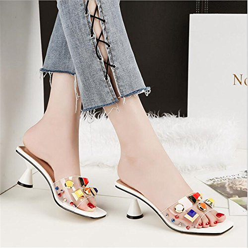 AYMYPL Ladies Open Toe Lower Square Block Heel Trasparent Outdoor Sexy Slider Sandals Shoes White Ry3FdHAtZ