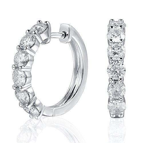 Platinum Plated Sterling Silver 1.8ctw 3.5mm HI Color Moissanite Simulated Diamond hoop Earrings for Women