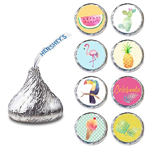 - Tropical Summer Label for HERSHEY'S KISSES® chocolates - Envelope Seal Candy Stickers - Set of 240