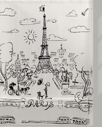 Creative Bath Products Paris Day Black Design On Clear Vinyl Shower Curtain 72quot