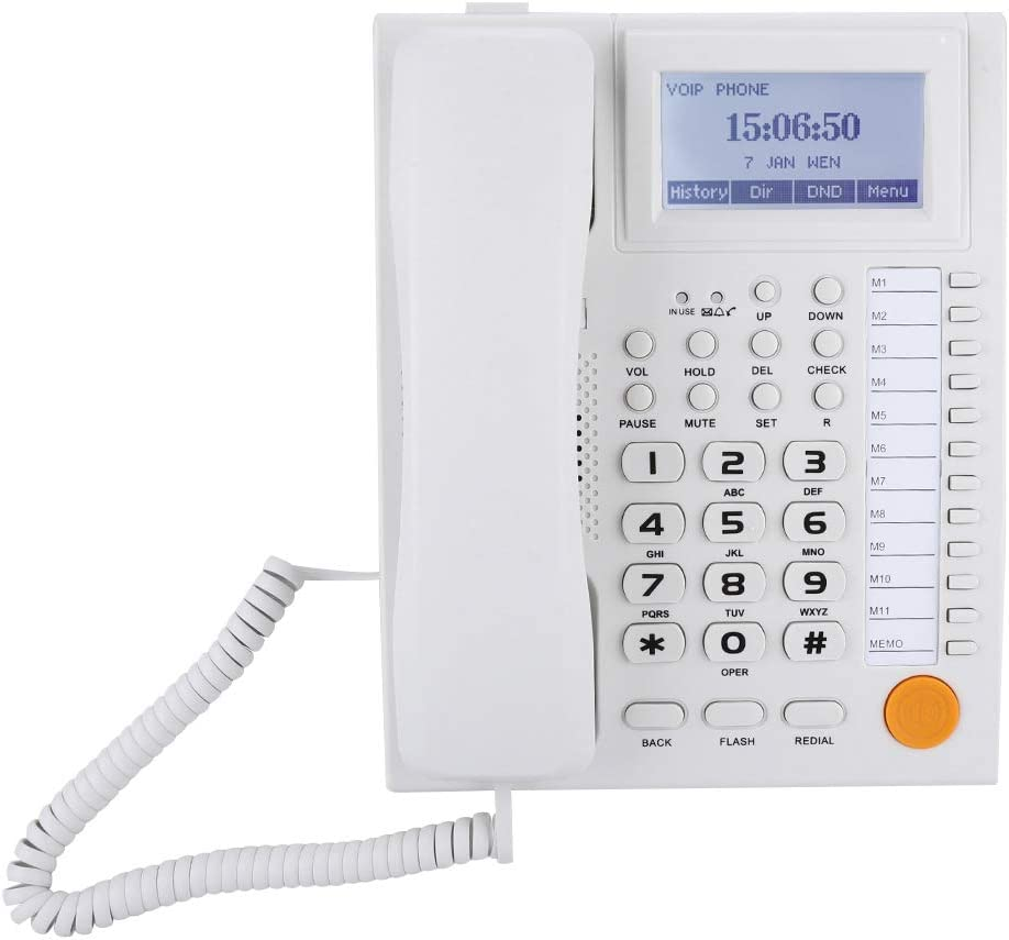 White Large LCD Display and Number Buttons Corded Telephone with Speakerphone Landline Telephone with Dual-Port Support Extension Set Caller ID Corded Phone Support Setting Mute Time.