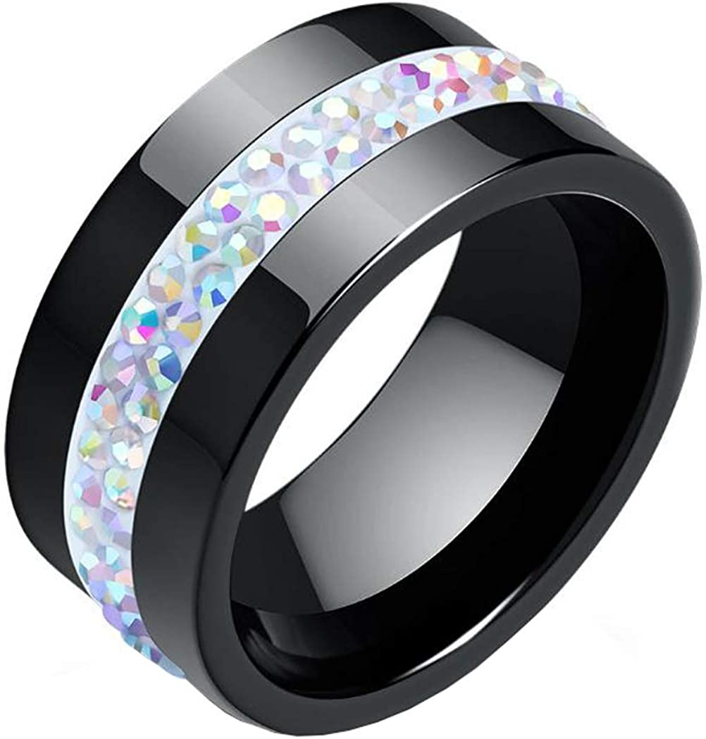 PAMTIER 10MM Classic Wide 2 Lines Rows CZ Crystal Ceramic Ring Women Girls Wedding Band