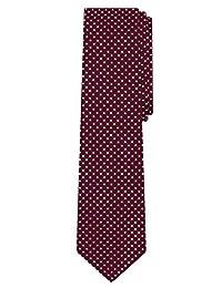 Jacob Alexander Polka Dot Print Boys Regular Polka Dotted Tie - Burgundy