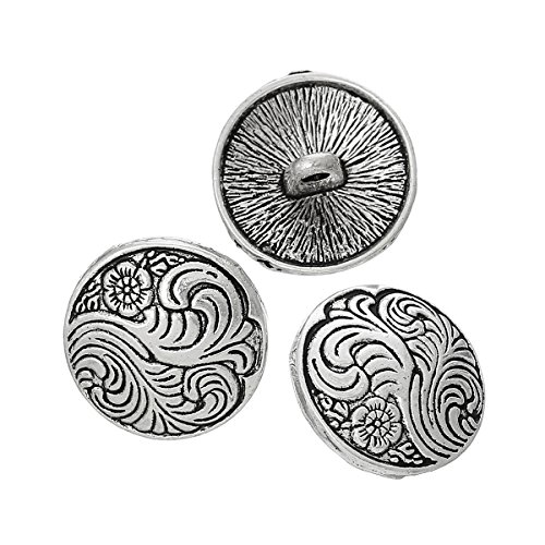 PEPPERLONELY Brand 10PC Antiqued Silver Flower Scrapbooking Metal Sewing Buttons with Shank 17mm (5/8 Inch)