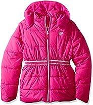 Pink Platinum Girls Puffer Jacket with Novelty Trim at Waist Jacket