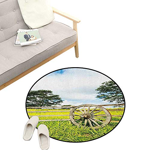 Barn Wood Wagon Wheel Kids Round Rug ,Fresh Green Meadow Ranching Fences Lush Growth Rural Landscape Trees, Sofa Living Room Bedroom Modern Home Decor 47