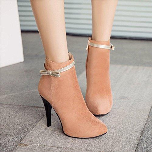 Carolbar Women's Fashion Grace Bow High Heel Stiletto Zip Dress Boots apricot 0F9Jyc