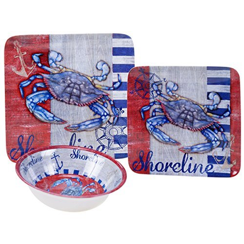 'Maritime Crab' Melamine 12-piece Dinnerware Set
