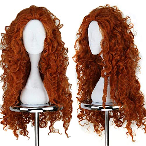 Anogol Hair Cap+Women's Fluffy Wavy Party Costume Cosplay Wig -