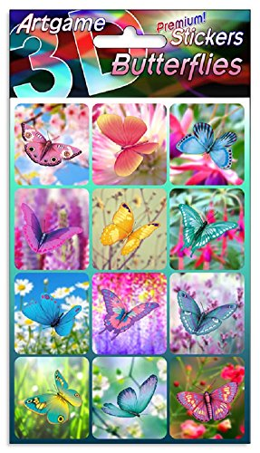 Lenticular Stickers (Butterflies 3D Lenticular Stickers by Artgame - One Sheet of 12 Assorted Butterfly Images)
