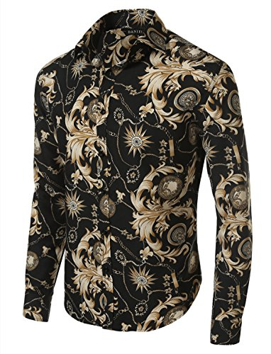 7Encounter Men's Spread Collar Patterned Print Oxford Long Sleeve Dress Shirt Chains M